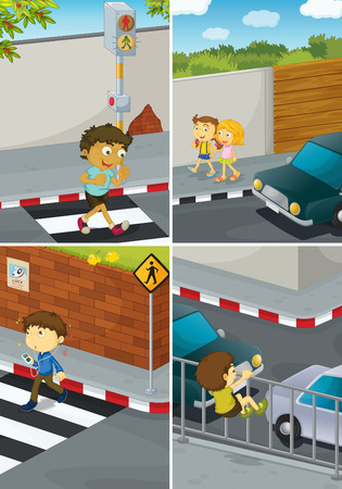 children are crossing road