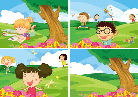 boys and girls doing activities in the park Vector