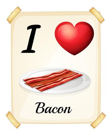 bacon love: Illustration of I love bacon banner