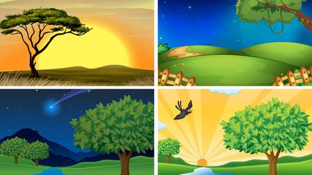 Illustratie van vier scènes van het veld en de bossen