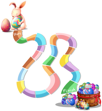 Illustration of a boardgame with easter theme