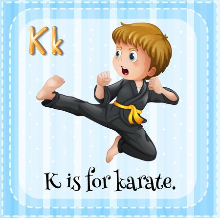 Alphabet K is for karate Vector