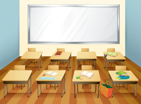 pupitre: aula vacía con estacionaria en los escritorios