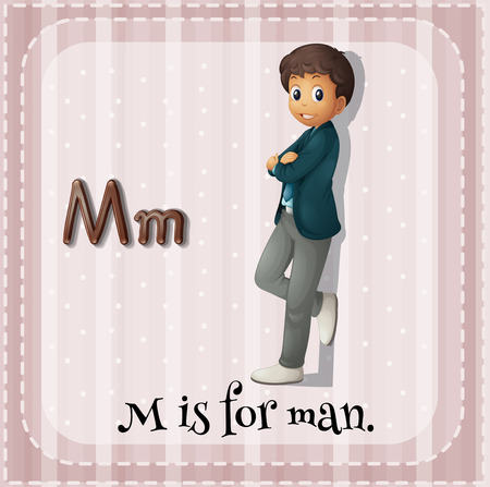 phonetic: Alphabet M is for man Illustration