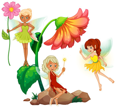 mythological character: Three fairies and flowers Illustration