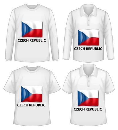 the czech republic: Four white shirts with Czech Republic flag Illustration