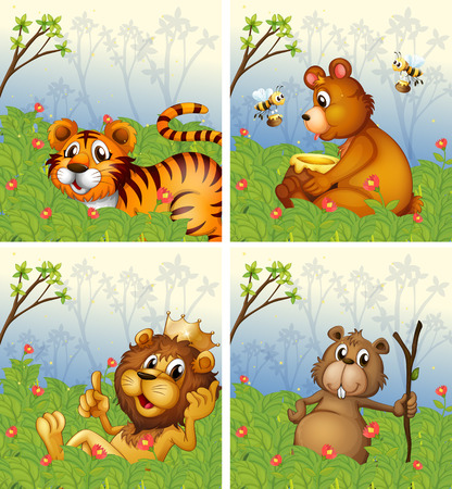forest clipart: Animals in the park