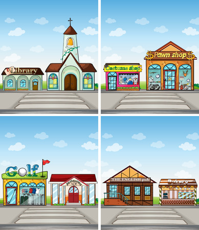 buildings and stores in the town Vector
