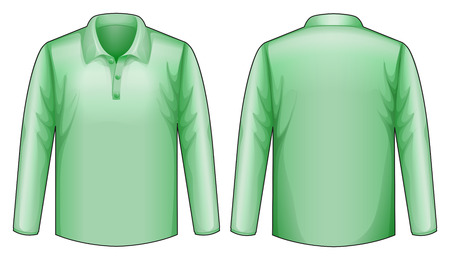 long sleeves: long sleeves shirt with front and back view Illustration