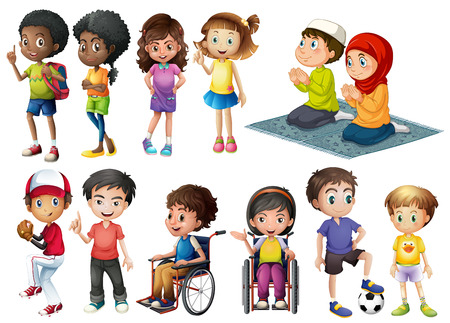 異なるアクションで多くの子供たち  イラスト・ベクター素材