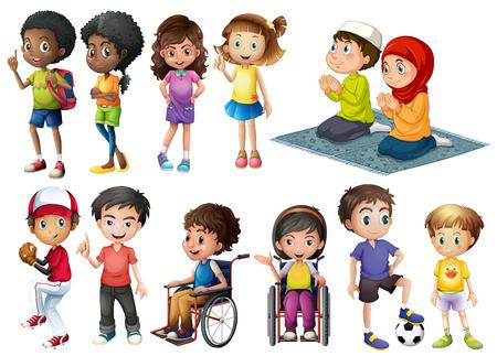 Veel kinderen in verschillende acties Stock Illustratie