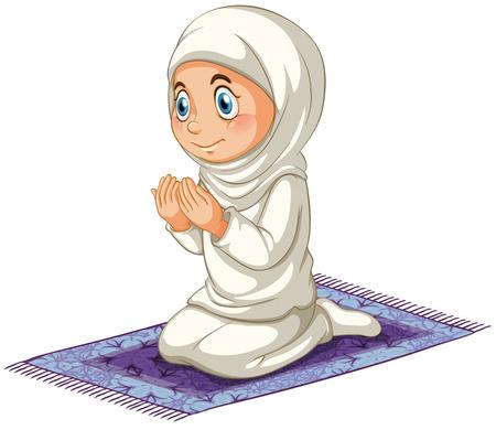カーペットの上女性イスラム教徒の祈り  イラスト・ベクター素材