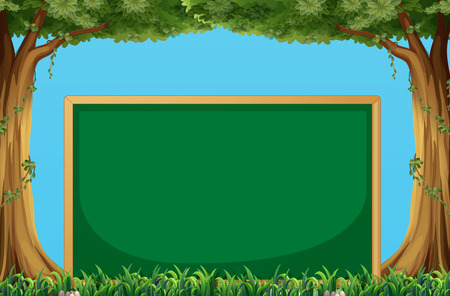 green board: Green board with trees background Illustration