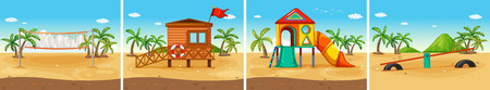 Four scenes of beach and playground Vector