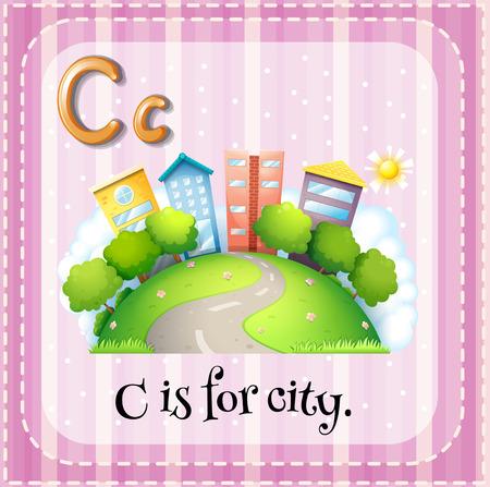 phonetic: Alphabet C is for city Illustration