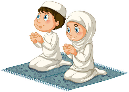 Male and female muslims praying on the carpet