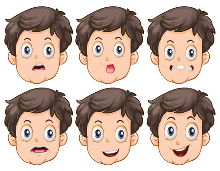 facial expressions: Different facial expressions of the man Illustration