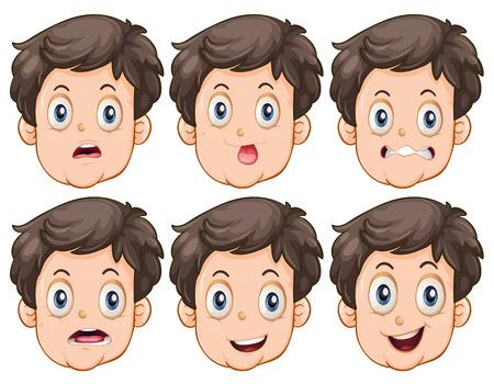 expresiones faciales: Diversas expresiones faciales del hombre
