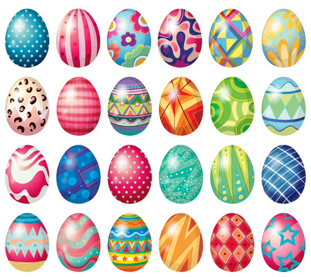 Different design of easter eggs Vector