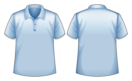blue shirt: Short sleeves blue shirt with front and back view