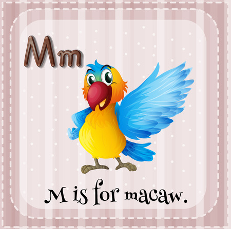 Alphabet M is for macaw Vector