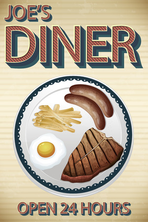 sunny side up eggs: Advertisement of main course menu for dinner Illustration
