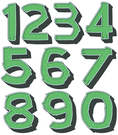 knowledge clipart: Number one to zero in green