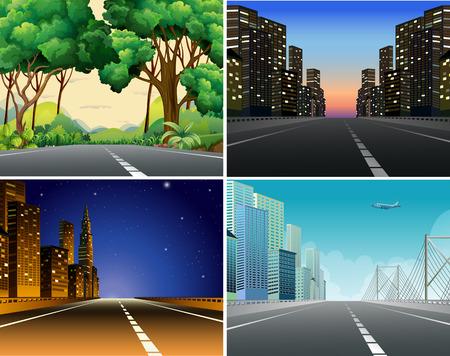 Cuatro escenas de carreteras