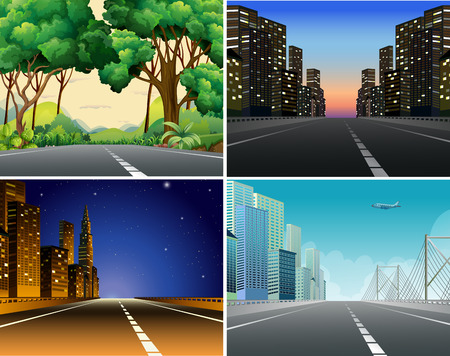 office environment: Four scenes of roads