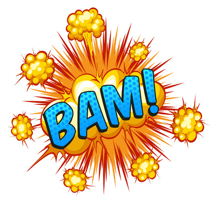 bam: Word Bam with cloud explosion in the back Illustration