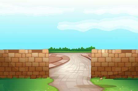 도로 벽돌 벽 중간 통해 실행 일러스트