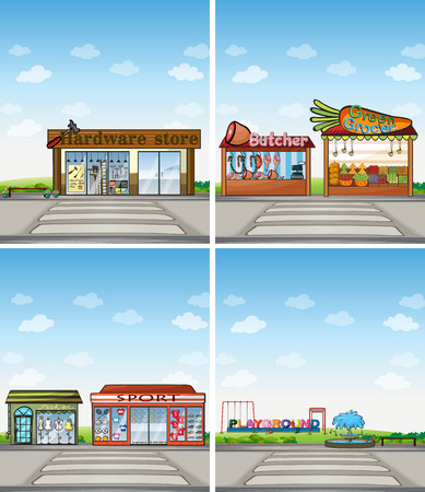 grocery store series: many shops at day time