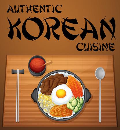 korean food: Authentic korean cuisine Illustration
