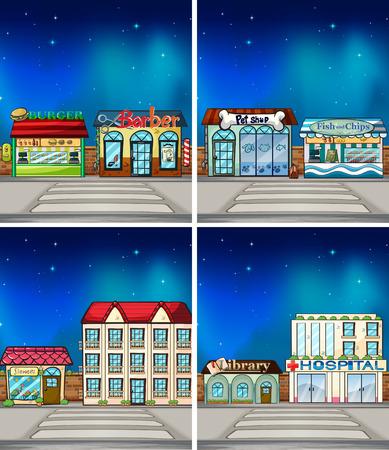 Many shops at night Vector