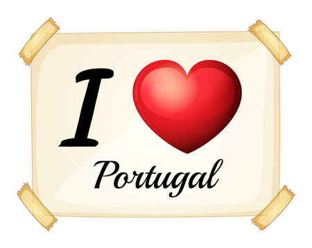 posted: I love Portugal sign posted on the wall Illustration