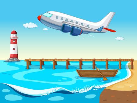 barco caricatura: Avión que volaba sobre el océano