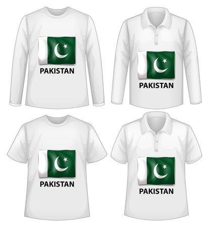 pakistan flag: Four white shirts with Pakistan flag Illustration