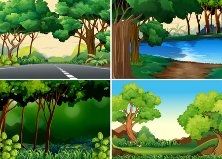 forest trees: Four scenes of forest and river
