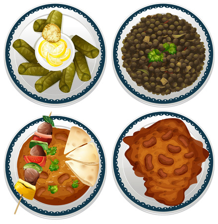 curry dish: Four dishes of indian food Illustration