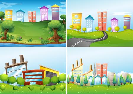 four city scenes Vector