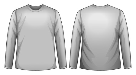 sleeves: long sleeves shirt with front and back view Illustration