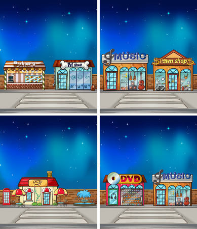 petshop: four scene of shops at night