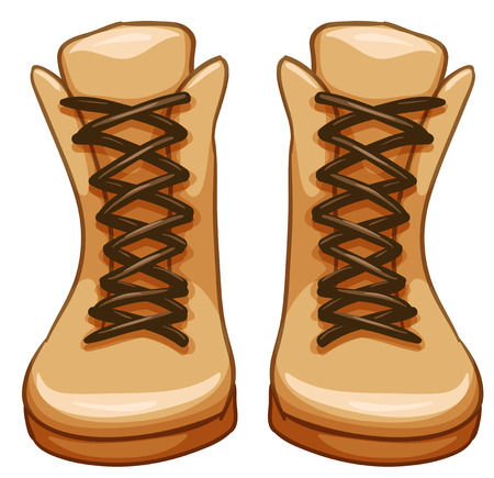 shoelaces: Pair of leather boots with shoelaces