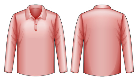 sleeves: Long sleeves pink shirt with front and back view Illustration