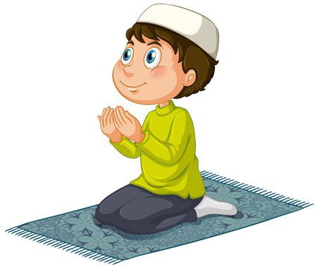 child praying: Muslim praying