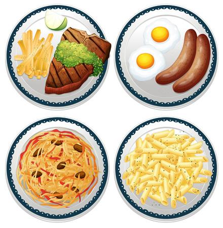 macarrones: Cuatro platos de diferentes tipos de alimentos