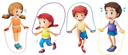 Jungen und Mädchen springen auf den Seilen