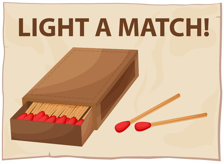Close up a box of matches Illustration