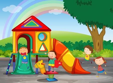 niños jugando caricatura: Niños jugando en el patio de recreo