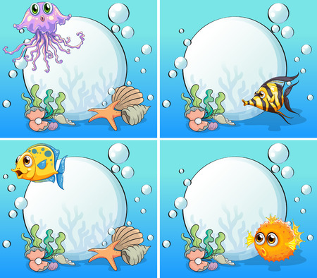 Sea creatures underwater Vector